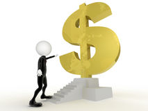 affärsmannen 3d får nästan dollaren undertecknar in trappan Arkivfoton