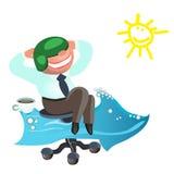 Affärsmannen drömmer, som snart möjligt att gå på semestrar havet Royaltyfri Fotografi