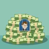 Affärsmannen eller chefen blev en fånge och en gisslan av hans pengar Arkivfoton
