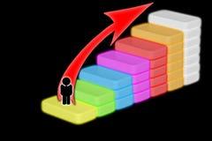 Affärsmannen eller studenten som går hans moment för fingrar som liknar en trappuppgång, monterade upp i lantliga träbräden i en  royaltyfri illustrationer