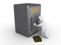 affärsmannen erhåller försäljningar till att försöka Arkivbilder
