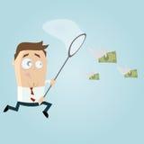 Affärsmannen försöker att fånga pengar Arkivfoton