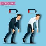Affärsmannen går som tröttar från att arbeta hårt och blick som honom som kör ut ur energi förbi batteriet ovanför hans kropp arkivfoto