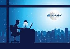 Affärsmannen gör övertids- arbete på kontoret på julnatt medan vektor illustrationer