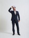 Affärsmannen gillar effekten av virtuell verklighetexponeringsglas Royaltyfria Foton