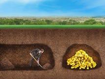 Affärsmannen gräver en tunnel för att uppskatta Arkivbilder
