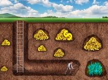Affärsmannen gräver en tunnel för att uppskatta Royaltyfri Foto