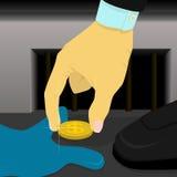 Affärsmannen grundar pengarna i en sidogata, när han går Arkivfoton