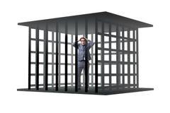 Affärsmannen i buren som isoleras på vit Arkivbild