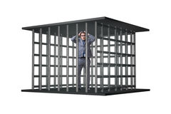 Affärsmannen i buren som isoleras på vit Fotografering för Bildbyråer
