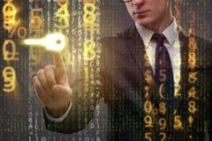 Affärsmannen i digitalt säkerhetsbegrepp royaltyfria bilder