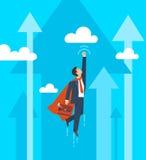 Affärsmannen i en dräktsuperhero flyger upp Ledarskap och affärstillväxtbegrepp Plan design också vektor för coreldrawillustratio vektor illustrationer