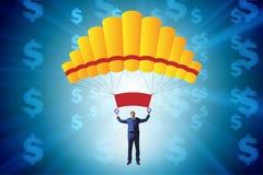Affärsmannen i guld- hoppa fallskärm begrepp Arkivbilder
