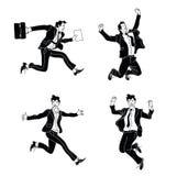Affärsmannen i olika sinnesrörelser och uttryck svärtar konturn Businessperson i tillfällig kontorsblick olikt poserar banhoppnin vektor illustrationer