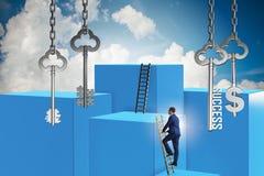 Affärsmannen i tangent till det finansiella framgångbegreppet Arkivbild