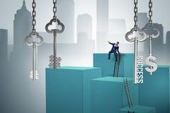 Affärsmannen i tangent till det finansiella framgångbegreppet Arkivfoton