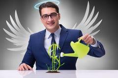 Affärsmannen i växande framtid för ängelaktieägarebegrepp gagnar Arkivfoto