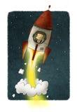 Affärsmannen inom en raket reser till och med utrymme stock illustrationer