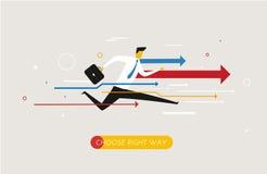 Affärsmannen kör framåtriktat till framgång vektor illustrationer