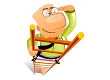 affärsmannen klättrar stegen Stock Illustrationer