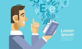 Affärsmannen läste bokdokumentstudenten Study Abstract Background royaltyfri illustrationer