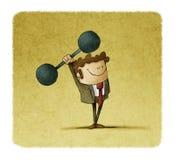 Affärsmannen lyfter vikter begrepp av styrka i affär Arkivfoton