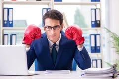 Affärsmannen med ilskna boxninghandskar i regeringsställning fotografering för bildbyråer