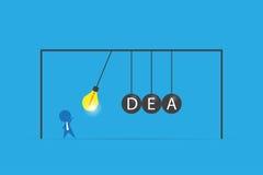 Affärsmannen med lightbulben och idéord på att balansera klumpa ihop sig vaggan, idé och affärsidé för newton` s stock illustrationer