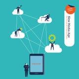 Affärsmannen med minnestavlan förband till olika användare och moln royaltyfri illustrationer