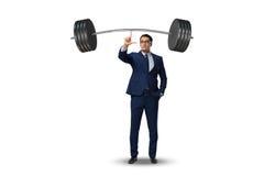 Affärsmannen med skivstången i tungt lyftande begrepp arkivfoton