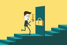 Affärsmannen med tangenten öppnar dörren till nästa steget Arkivbild