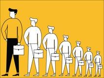 Affärsmannen med tillväxt symboliserar stock illustrationer