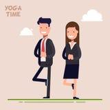 Affärsmannen och affärskvinnan eller chefer är förlovade i yoga Posera trädet Tid av psykologisk avlastning och avkoppling vektor illustrationer