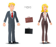 Affärsmannen och affärskvinnan poserar på vit bakgrund Arkivbilder