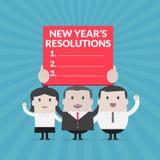 Affärsmannen och affärskvinnan som rymmer det nya årets upplösningar, undertecknar - vektorn arkivbild