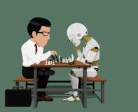Affärsmannen och roboten spelar schack Arkivfoto