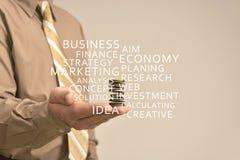 Affärsmannen rymmer en annonsering Arkivfoto