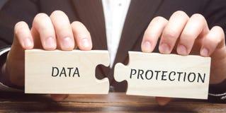 Affärsmannen samlar träpussel med orddataskyddet Förnekat tillträde till förtrolig information Se till arkivfoton