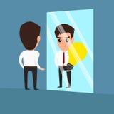 Affärsmannen ser idé i spegeln Royaltyfria Foton