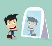 affärsmannen ser spegeln Arkivfoton
