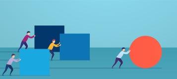 Affärsmannen skjuter den röda sfären som passerar konkurrenter Begrepp av att segra strategi, affärseffektivitet, ledarskap royaltyfri illustrationer