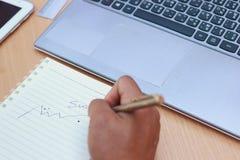 Affärsmannen skriver framgång, framgångbegrepp Arkivfoton