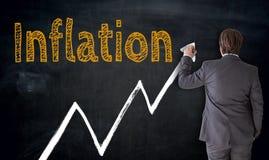 Affärsmannen skriver inflation på svart tavlabegrepp Arkivfoto