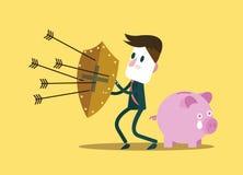 Affärsmannen skyddar spargrisen Finansiellt besparingbegrepp Arkivfoton