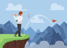 Affärsmannen slogg golf och framställning av en hole in one över mountaien Royaltyfri Foto