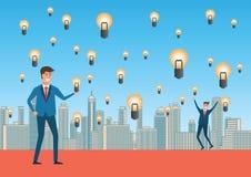 Affärsmannen som är glad med idéregn, betyder mycket av idé, idérikt och vektor illustrationer