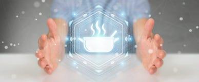 Affärsmannen som använder applikation för att beställa hem, gjorde mat online-3D Arkivbild