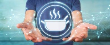 Affärsmannen som använder applikation för att beställa hem, gjorde mat online-3D Arkivfoto