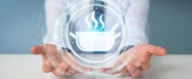 Affärsmannen som använder applikation för att beställa hem, gjorde mat online-3D Fotografering för Bildbyråer