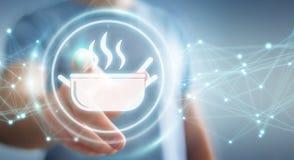 Affärsmannen som använder applikation för att beställa hem, gjorde mat online-3D Royaltyfri Bild